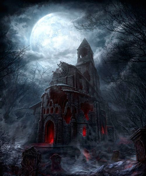 Dark castle under a full moon. Cool for Halloween inspiration!