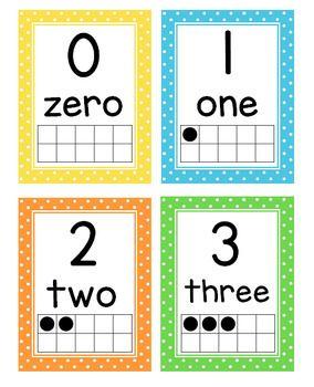 number posters 0 20 with ten frames and flash cards polka. Black Bedroom Furniture Sets. Home Design Ideas