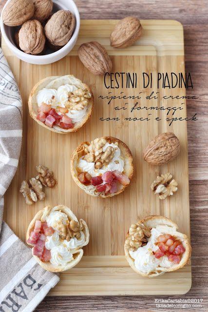 La tana del coniglio: Cestini di piadina ripieni di crema ai formaggi con noci e speck