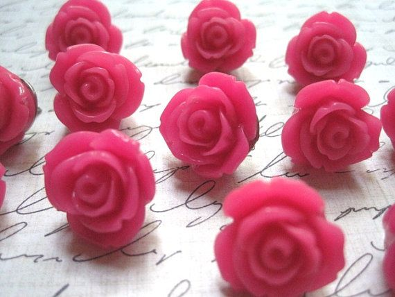 Pink Thumbtacks... 12 pc Flower Thumb Tacks, Pretty Pushpins, Cute Office Supplies, Housewarming Gifts, Hostess Gifts, Wedding Favors on Etsy, $9.00