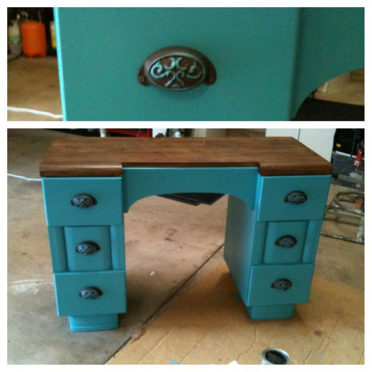 painted stained refurbished two tone stain desk old furniture ideas