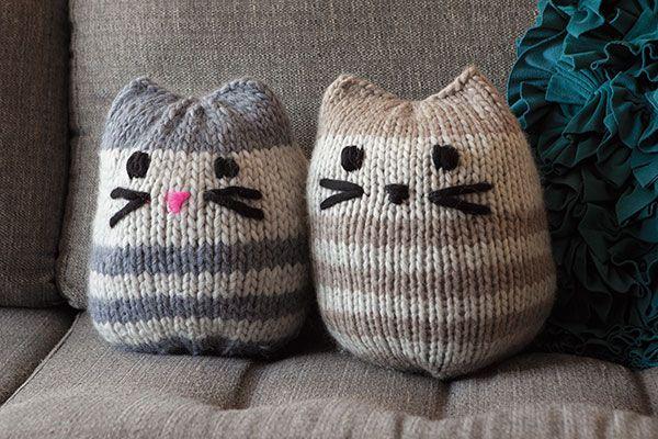 Mini Kitty Pouf (pillow) - Knitting Patterns and Crochet Patterns from KnitPicks.com by Edited by Knit Picks Staff On Sale