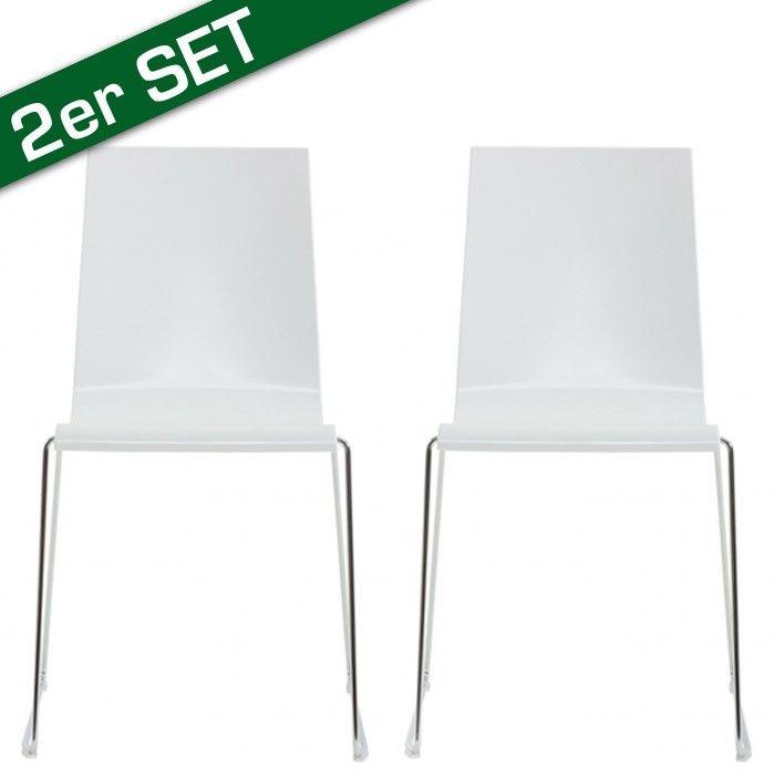 """Stuhl Kuadra 2er Set weiss ca. 84x51x57cm   Farbe: weißMaße: ca. Höhe: 85cm, Breite: 45cm, Tiefe: 45cmSitztiefe: ca. 40 cmMaterial: Sitzschale aus Technopolymer, Gestell verchromt Einfach ein Stuhl oder schon ein """"Sessel""""? Während manches Sitzmöbel eher die Eitelkeit des Designers als unseren Rücken stützt, ist mit unserem Modell Kuadra die perfekte Symbiose aus Bequemlichkeit, Stabili...  199,98€"""