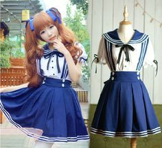 Lolita Sailor Dress Tops+Skirt Navy Marine Uniform Kawaii School Girl Set