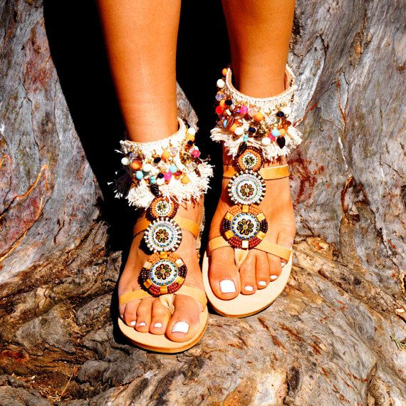 "Genuine leather ethnic style sandals""Maya"" decorated with glass and enamel beads motifs, &tassels"
