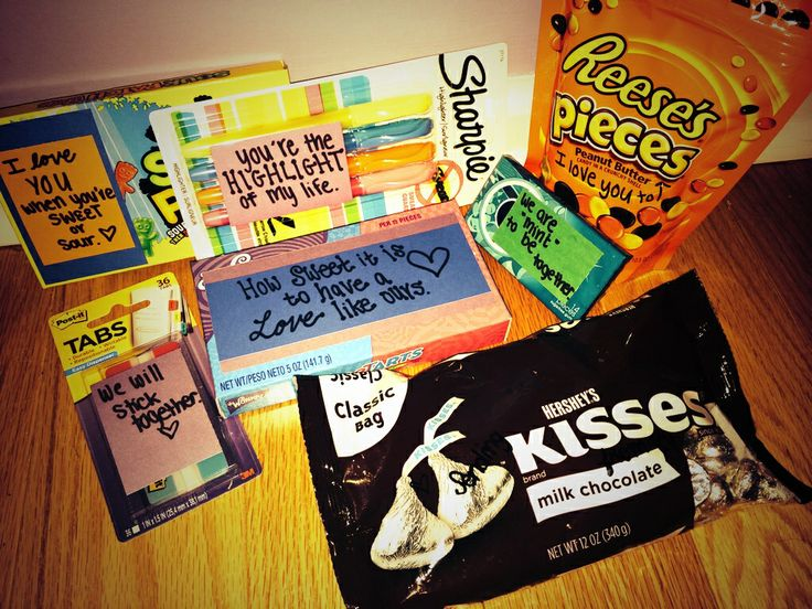 Cute thing to do for your boyfriend. Highlighters and sticky tabs for his Bible & candy for fun. Love it!