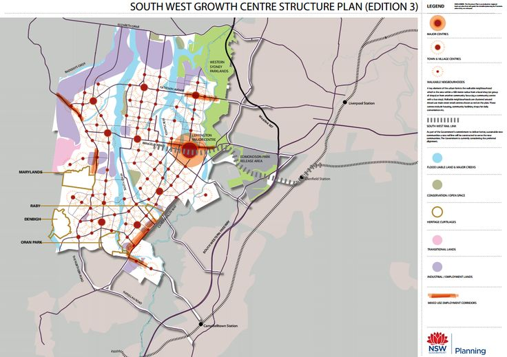 Northern parts of the South West Growth Centre affected by aircraft noise that werte initially zoned residential have now been rezoned industrial. Click to enlarge. (Source: NSW Department of Planning)
