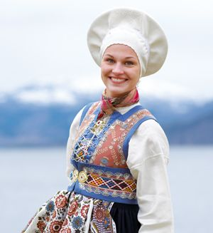 Bunad (folk costume) from Fusa, Norway