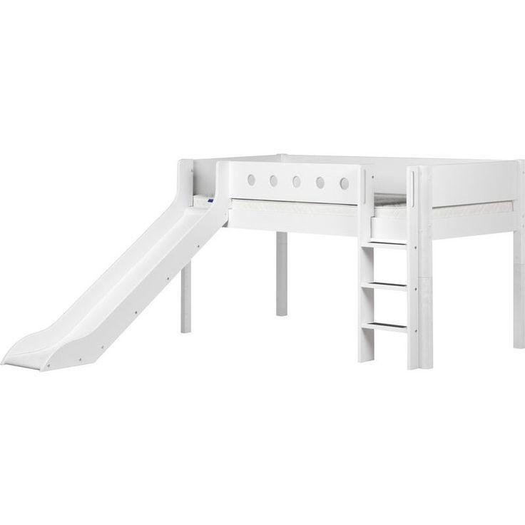 Flexa White Half High Bed Vertical Ladder And Slide White Bed