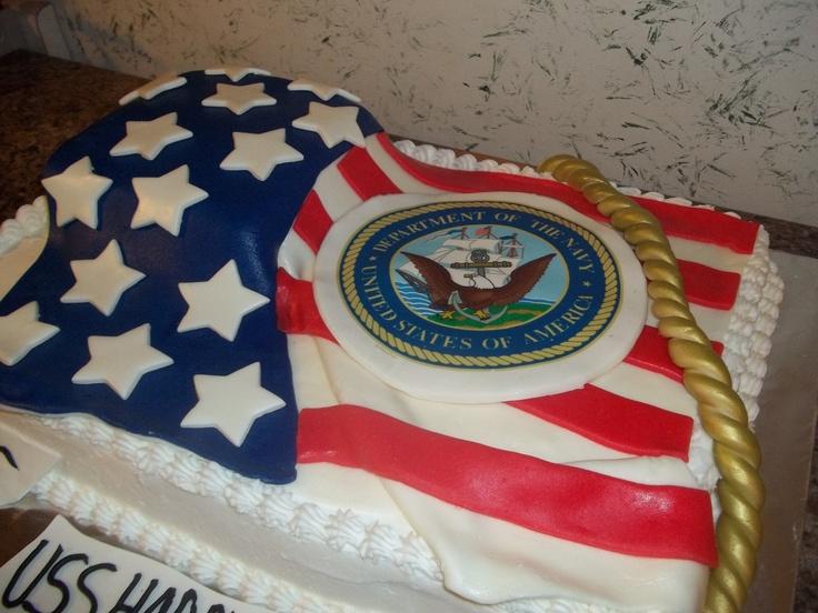 Navy cake, half chocolate half vanilla, covered in ...