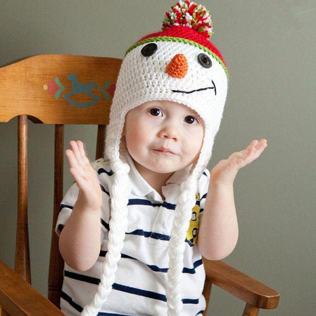 Entzückende Schneemann Babymütze Handgemachte Kinder Ohrenklappen Beanies Cap Kleinkind Häkeln Hüte baby foto requisiten hut Weihnachten BH0876