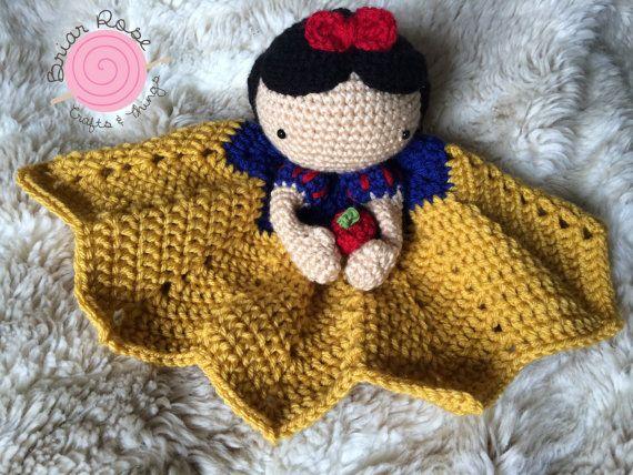 Crochet Snow White Lovey, Security Blanket, baby shower gift, princess nursery, disney baby gift, Prop, crochet blanket, Snow White on Etsy, $35.00