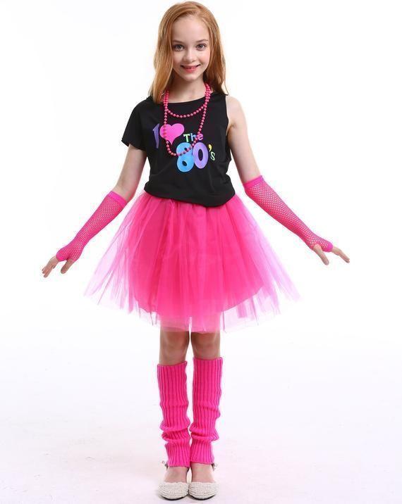 NEON TUTU SKIRT SET HAIR BOW LEG WARMERS GLOVES FUN RUN 80/'S FANCY DRESS COSTUME