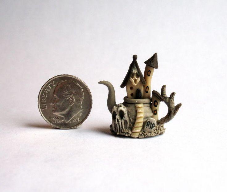 Handmade Miniature WITCH HAUNTED SPOOK HOUSE TEAPOT -  OOAK C. Rohal #CRohal
