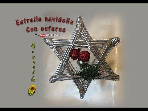 Estrella navideña con esferas reciclaje de papel periódico- Christmas star recycling of newsprint - YouTube