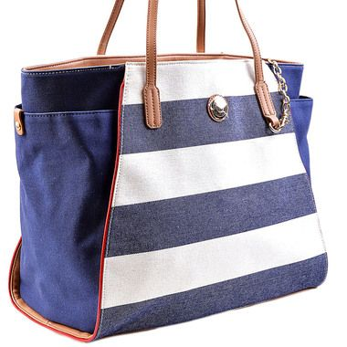 An affordable version of the Michael Kors bag I'm in love with....Tommy Hilfiger Striped Canvas Tote | Name Brand Handbag Outlet