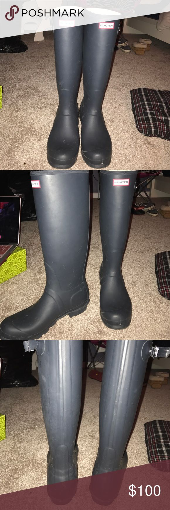 tall Hunter boots size 9 navy tall Hunter boots Hunter Boots Shoes Winter & Rain Boots