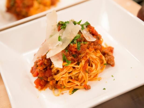 """Linguini Bolognese with Pancetta, Beef, Tomato Sauce, Herbs and Parmesan : Although Damaris was ultimately tasked with describing a pasta dish made by her rival Lovely, this hearty Bolognese sauce studded with pancetta and topped with Parmesan cheese is all her own. """"It conjures up memories for me of happiness and time spent with my family,"""" the Season 9 winner said."""
