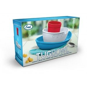 Fred - Tug Bowl Set: A super fun dinner set for kids from Fred, the Tug Bowl is both adorable and absolutely practical! It's a toy that turns into a dinner set at mealtimes! Styled in bright and cheery colours, kids will love playing with the little tug boat and then, eating from it too! A unique spin on kids' dinner sets, the Tug Boat splits up into a plate, bowl and drinking cup. Made from 100% virgin, food-safe, dishwasher-safe melamine. #alltotstreasures #fred #tugbowlset #kidsdinnerset