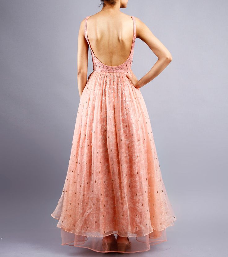 Peach Embroidered Organza,Net & Satin Dress