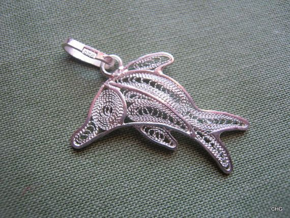 Handmade Sterling Silver Filigree Dolphin Pendant by TrulyFiligree