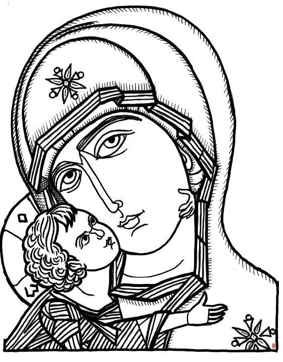 Line Drawing Icons : Byzantine icon coloring page empire for kids