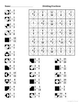 Dividing Fractions Color Worksheet fişenegre Enseñar