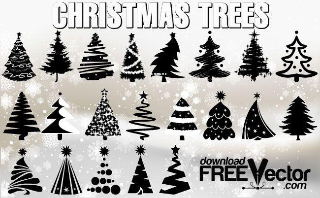 grafiker.de - 21 Weihnachtsbäume als kostenloses Vektor-Set