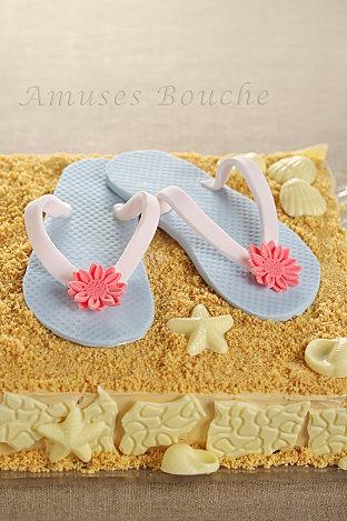beach cake with fondant flip flops
