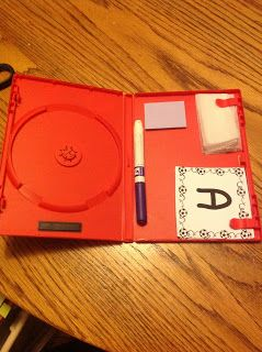 Use DVD case for dry erase - use dryer sheet to clean board.  Might be good for bell work/problem of the day, etc.