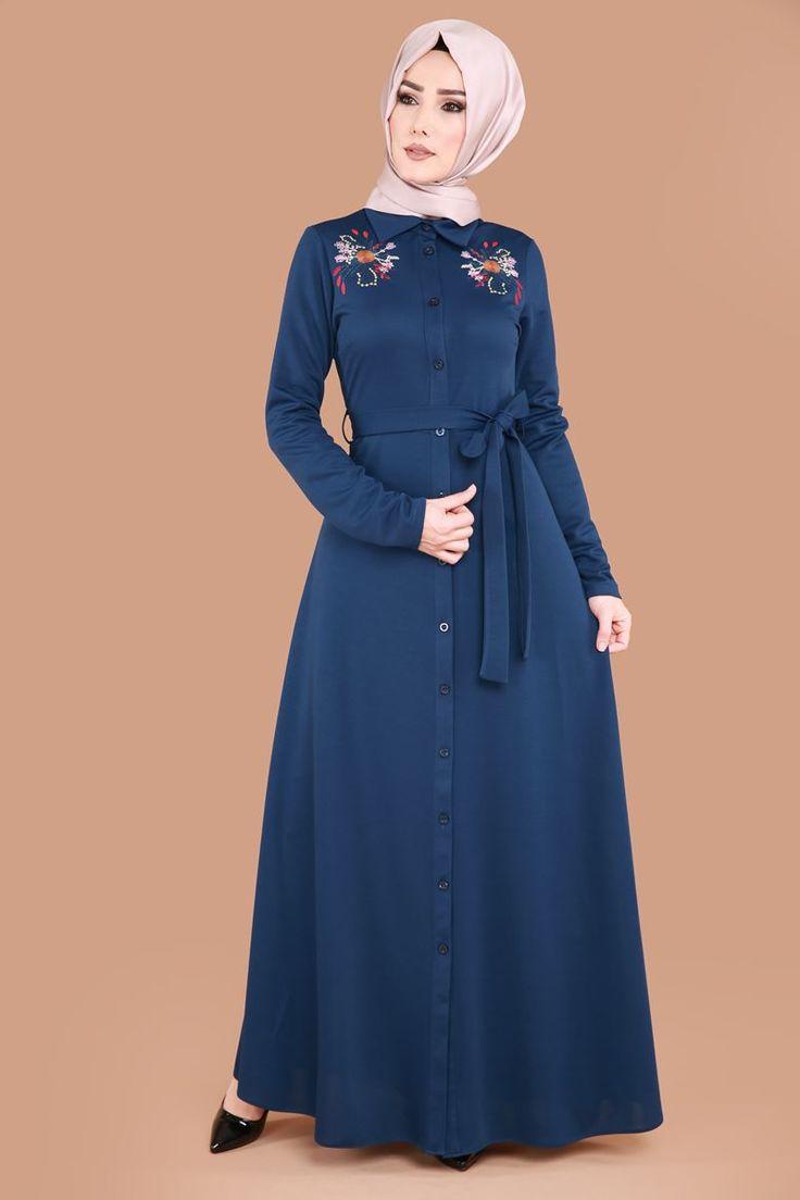** YENİ ÜRÜN ** Çiçek Nakışlı Tesettür Elbise İndigo Ürün kodu: LRJ6153 --> 59.90 TL