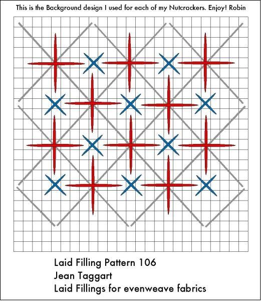 Laid filling stitch. Robin King