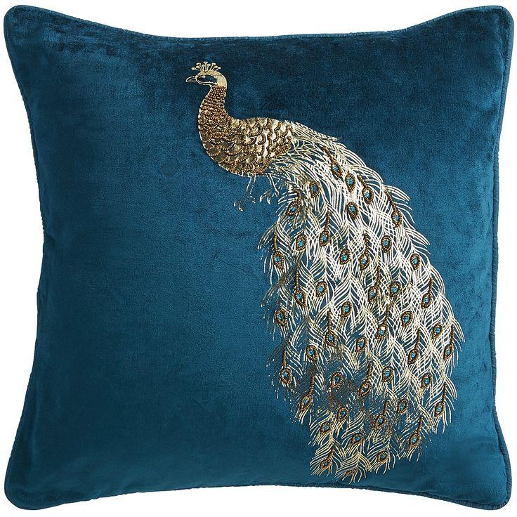 Midnight Velvet Beaded Peacock Pillow Teal