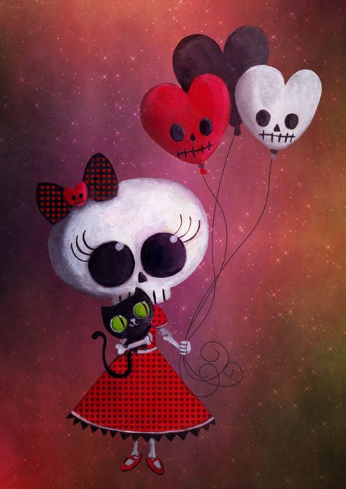 Skull Art || Skull Kitty | Skull Balloons || Beautiful