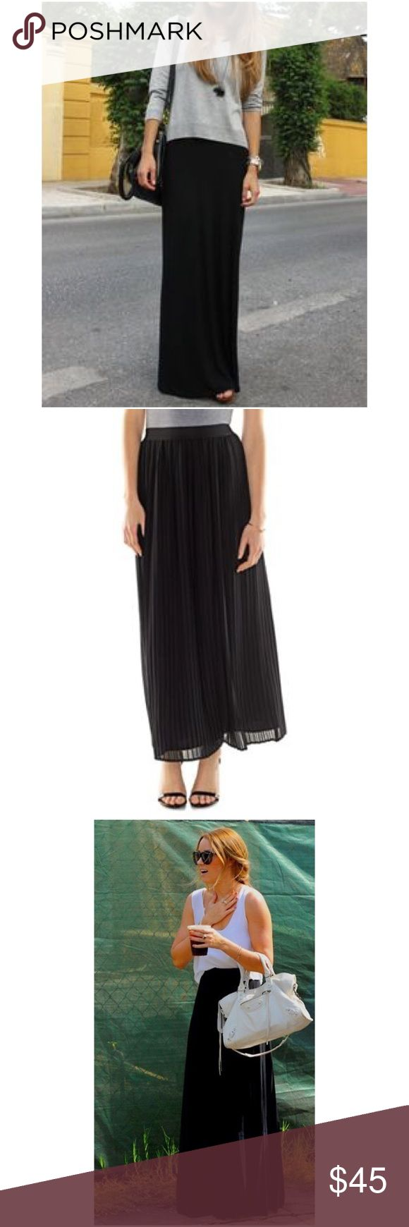 "LAUREN CONRAD BLACK PLEATED CHIFFON MAXI SKIRT You'll love the stylish charm of this women's LC Lauren Conrad black pleated chiffon fully-lined maxi skirt.  PRODUCT FEATURES Pleated design Lightweight chiffon construction Lined FIT & SIZING 39-in. approximate length 30"" elastic waistband FABRIC & CARE Skirt & lining: polyester Machine wash LC Lauren Conrad Skirts Maxi"