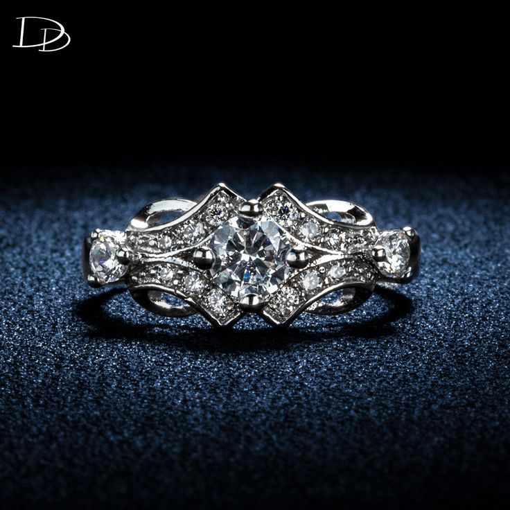 AAA CZ diamond jewelry wedding engagement rings for women white gold plated vintage Bijoux Accessories bague aneis DD025