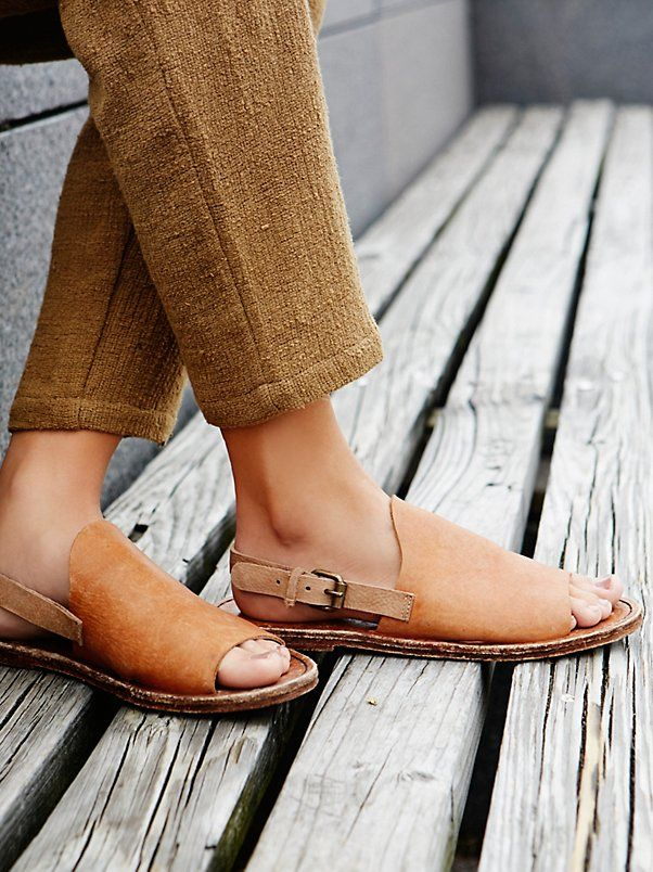 Bondi Drive Sandal   Open toe slide sandals featuring a distressed leather upper for a worn-in look. Adjustable ankle strap for an easy on-off.