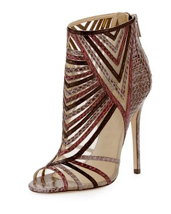 Kara Peep-Toe Snake Ankle Bootie, Multicolor by Jimmy Choo at Neiman Marcus.