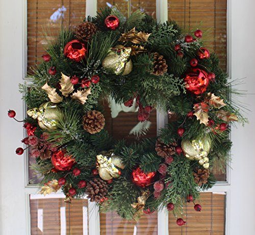 outdoor artificial wreaths christmas wreath queensbury decorated christmas wreath 22 inch all weather outdoor artificial that lasts for years handmade designer quality enriches entry u2026