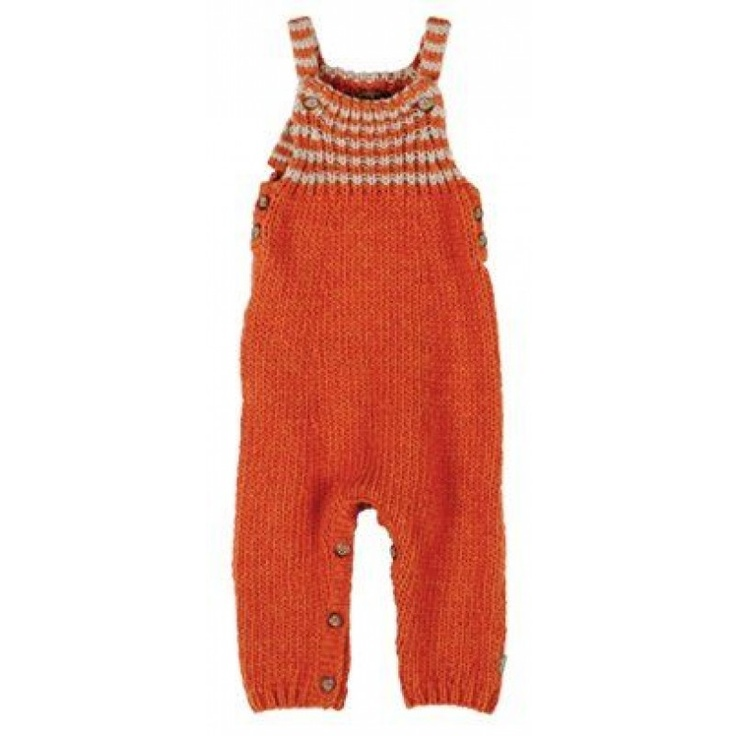 Kidscase Chunky Knit Playsuit in Orange and Beige