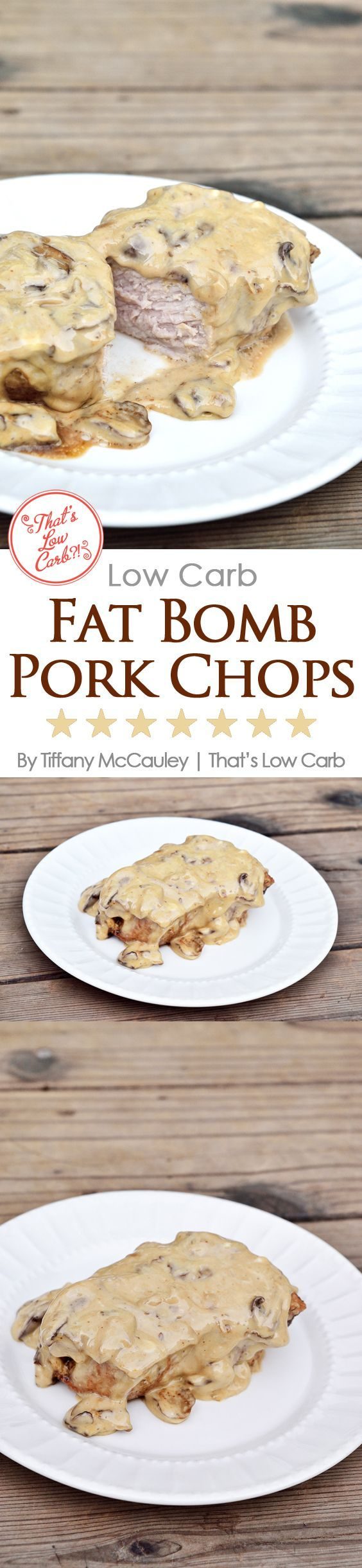 Low Carb Fat Bomb Pork Chops Recipe - Perfect for a Keto diet or just for generally getting plenty of fats in your low carb eating plan. ~ http://www.thatslowcarb.com/low-carb-fat-bomb-pork-chops-recipe/