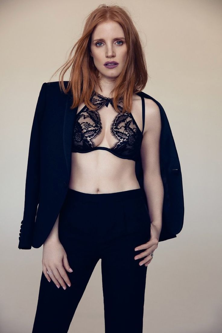 Actress Jessica Chastain suits up with lace bra top for L'Officiel Magazine Paris November 2016 issue