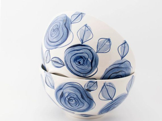 MADE TO ORDER - Simple, modern, Delft blue roses hand painted earthenware ceramic large bowl / salad bowl