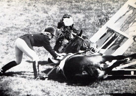 Stroller's fall in the team event at Mexico 1968. Marion Mould and Stroller had already won silver in the individual show jumping but then diaster struck over one of the biggest Olympic show jumping courses ever and they were disqualified.