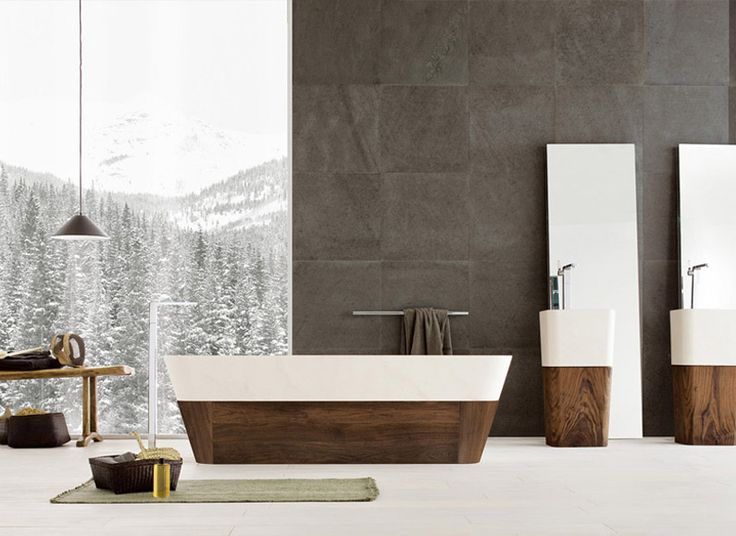 Photos Of Beautiful Bathroom Design with Wood Elements and Scenic Wallpaper u Contemporary Bathrooms from Neutra u Home and Interior Design Ideas