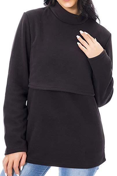 a2b40e0858d8a Smallshow Women's Fleece Nursing Tops Shirts Long Sleeve Breastfeeding  Clothes Small Black