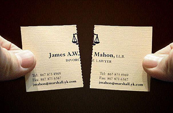 Divorce lawyer's card - effective immediately.