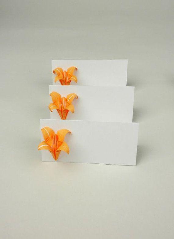 set of 10,Origami escort card,orange wedding,flower place card,escort cards.autumn wedding,place card,wedding,party place card