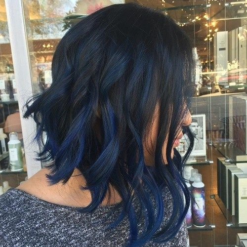 Best 25 blue hair highlights ideas on pinterest colored 50 gorgeous wavy bob hairstyles with an extra touch of femininity 19 long angled black bob with blue highlights pmusecretfo Images