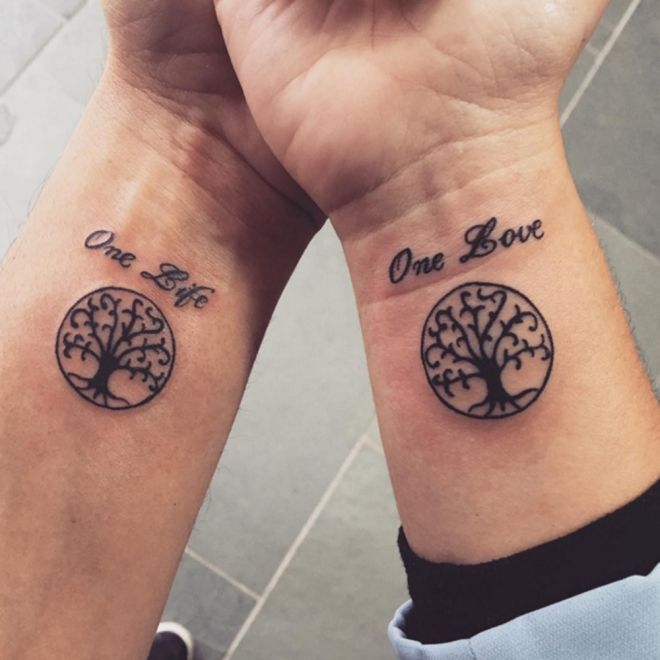 Hermoso Frase: One Love - One Life y Árbol